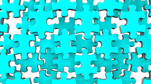 Pale Blue Jigsaw Puzzle On White Background CG動画