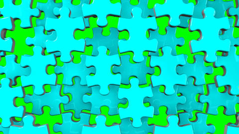 Pale Blue Jigsaw Puzzle On Green Chroma Key Animation
