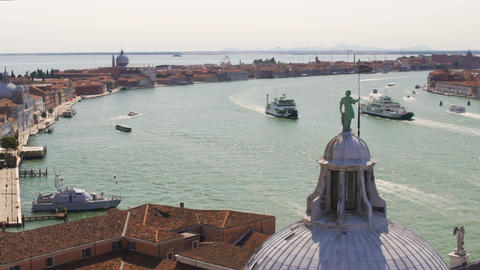 Marine cityscape picturing channel with historical buildings on banks, Venice Live Action