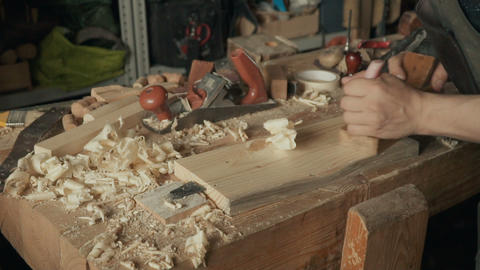 Skilled craftsman working in a workshop ビデオ