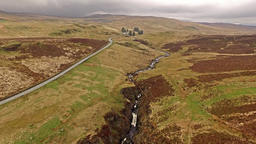 Aerial view of the B4391 through the moor and mountains of Wales close to ビデオ