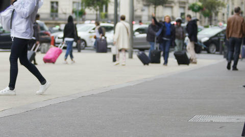 Business person holding bag and walking to airport, travel, slow motion video Footage