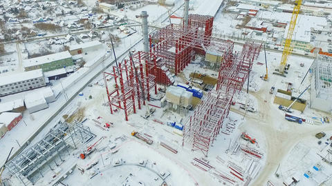 construction process of departments using lifting cranes Footage