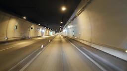 Car driving inside tunnel ビデオ
