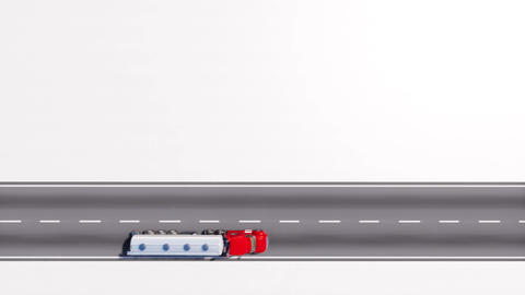 Oil truck on the road copy space white background Animation