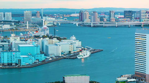 Sunset time-lapse of Tokyo Bay with a view of the Rainbow Bridge Footage