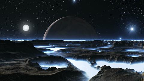 Sunrise Illuminates Alien Planet GIF