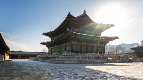 Gyeongbokgung palace in Seoul city, South Korea Live Action