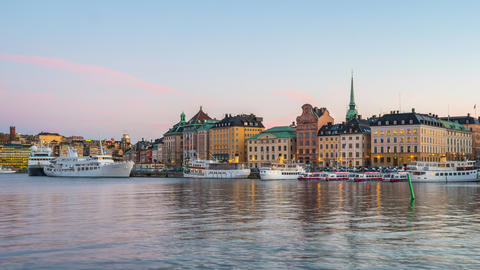 Day to Night timelapse video of Stockholm Gamla Stan in Sweden time lapse 4K Footage