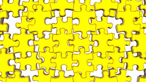 Golden Jigsaw Puzzle On White Background Animation