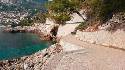 POV Shot Of Walking On The Path By The Mediterranean Sea On The French Riviera GIF