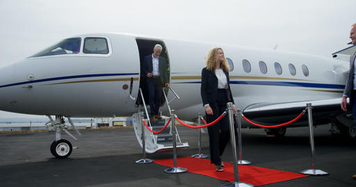 Business people leaving private jet 4k Live Action