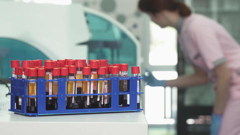 Blood samples in test tubes on the foreground copy space on the side Footage