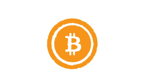 Stamp BITCOIN. Alpha channell Animation