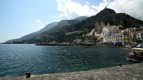 world famous Amalfi seen from the dock Footage