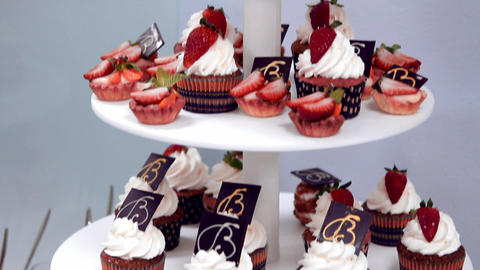 Sweets cake with strawberries Footage