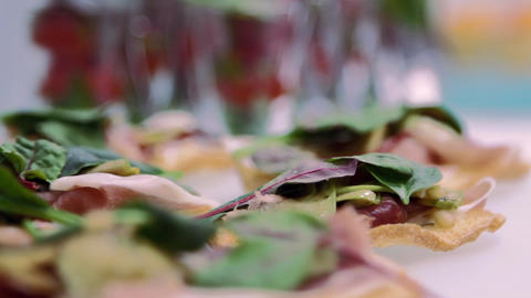 Sandwiches On The Table stock footage