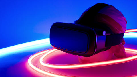 Virtual reality headset neon lights Live Action