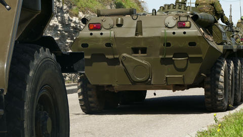 Armored Personnel Carriers Moving Footage