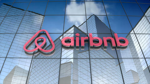 Editorial, Airbnb Inc. logo on glass building Animation