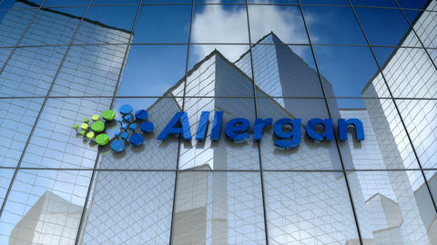 Editorial, Allergan, Plc logo on glass building Animation