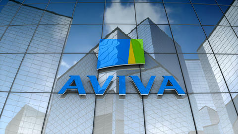 Editorial, Aviva plc logo on glass building Animation