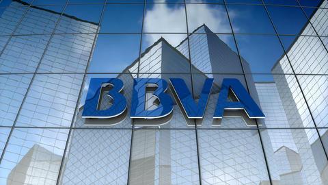 Editorial, Banco Bilbao Vizcaya Argentaria, S.A. logo on glass building Animation