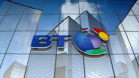 Editorial, BT Group plc logo on glass building Animation