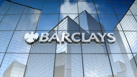 Editorial, Barclays PLC logo on glass building Animation
