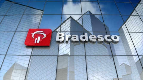 Editorial, Banco Bradesco logo on glass building Animation
