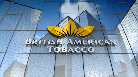 Editorial, British American Tobacco plc logo on glass building Animation