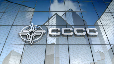 Editorial, China Communications Construction logo on glass building Animation