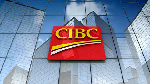 Editorial, Canadian Imperial Bank of Commerce logo on glass building Animation
