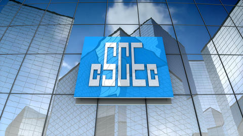 Editorial, China State Construction Engineering Corporation logo on glass Animation