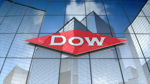 Editorial, The Dow Chemical Company logo on glass building Animation