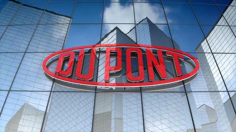 Editorial, E. I. du Pont de Nemours and Company logo on glass building Animation
