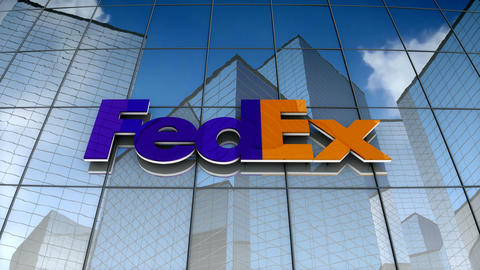 Editorial, FedEx Corporation logo on glass building, Stock Animation