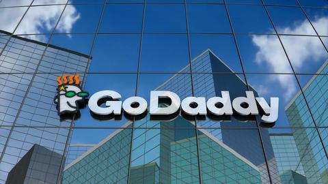 Editorial, GoDaddy Inc. logo on glass building Animation
