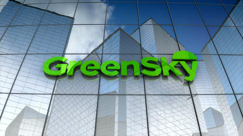 Editorial, GreenSky LLC logo on glass building Animation