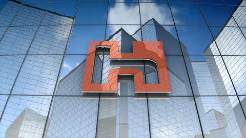Editorial, Hon Hai Precision Industry Co ltd logo on glass building Animation
