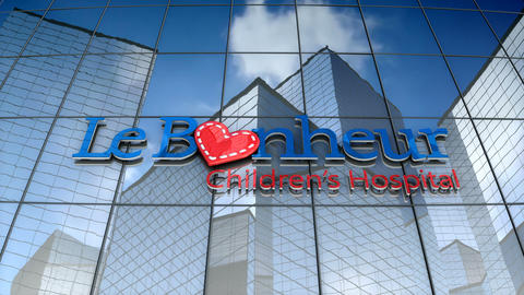 Editorial, Le Bonheur Children's Hospital logo on glass building Animation