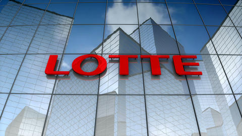 Editorial, Lotte Group logo on glass building Animation