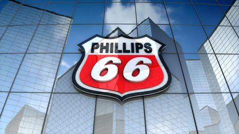 Editorial, The Phillips66 Company logo on glass building Animation