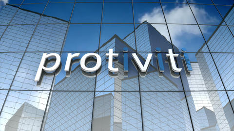 Editorial, Protiviti logo on glass building Animation