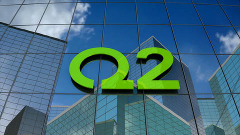 Editorial, Q2 logo on glass building Stock Video Footage