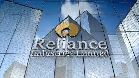 Editorial, Reliance Industries Limited logo on glass building Animation