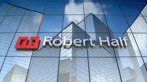 Editorial, Robert Half logo on glass building Animation