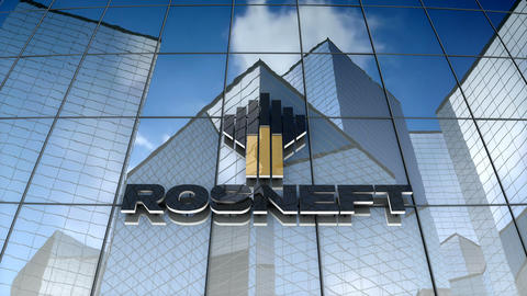 Editorial, Rosneft logo on glass building Animation