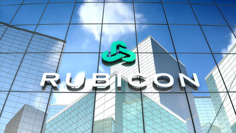 Editorial, Rubican Global logo on glass building Stock Video Footage