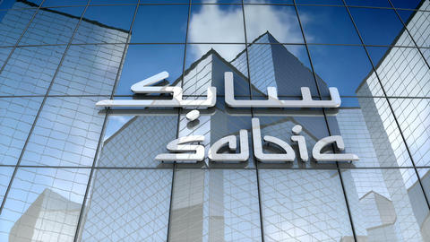 Editorial, Saudi Basic Industries Corporation logo on glass building Animation